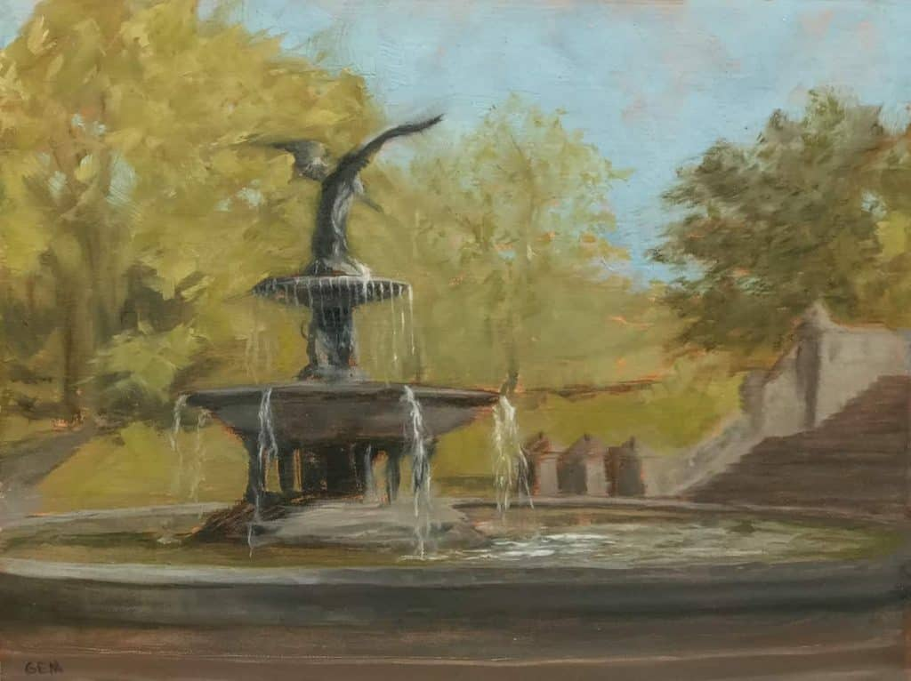 """Bethesda Fountain"" Oil on linen panel, 9"" x 12"", painted in 2018 - AVAILABLE"