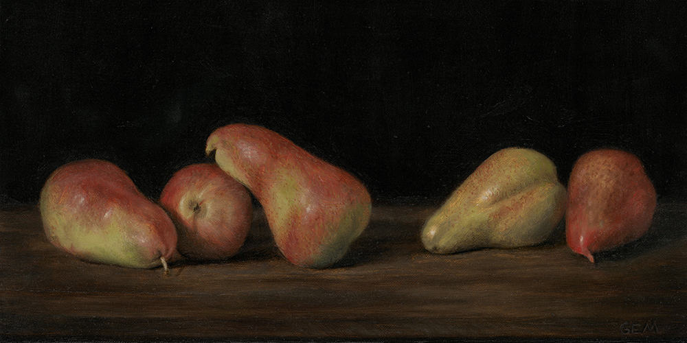 """Five Pears"" Oil on linen panel, 7"" x 14"", painted in 2016 - AVAILABLE - The Foundation Gallery in New Orleans ""Immortelle"" exhibition (2016)"